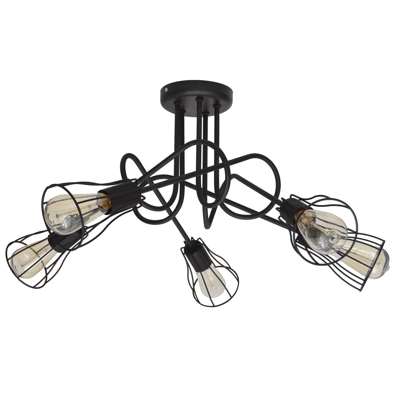 Taklampe Oxford, 5 lyskilder med burskjermer svart