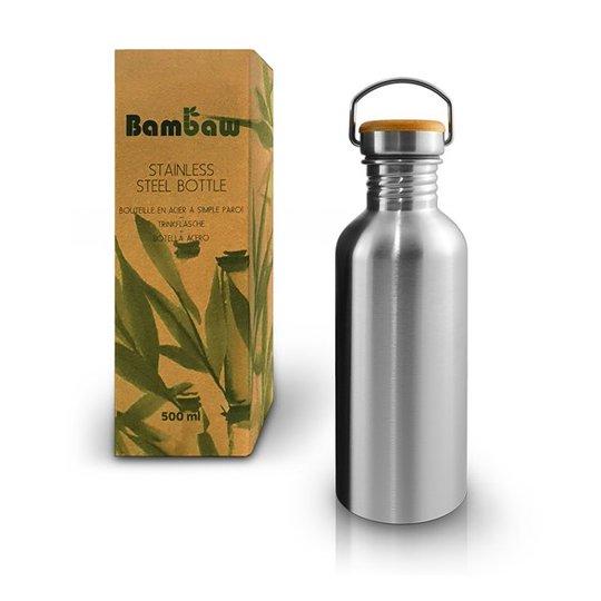 Bambaw Rostfri Vattenflaska med Bambukork