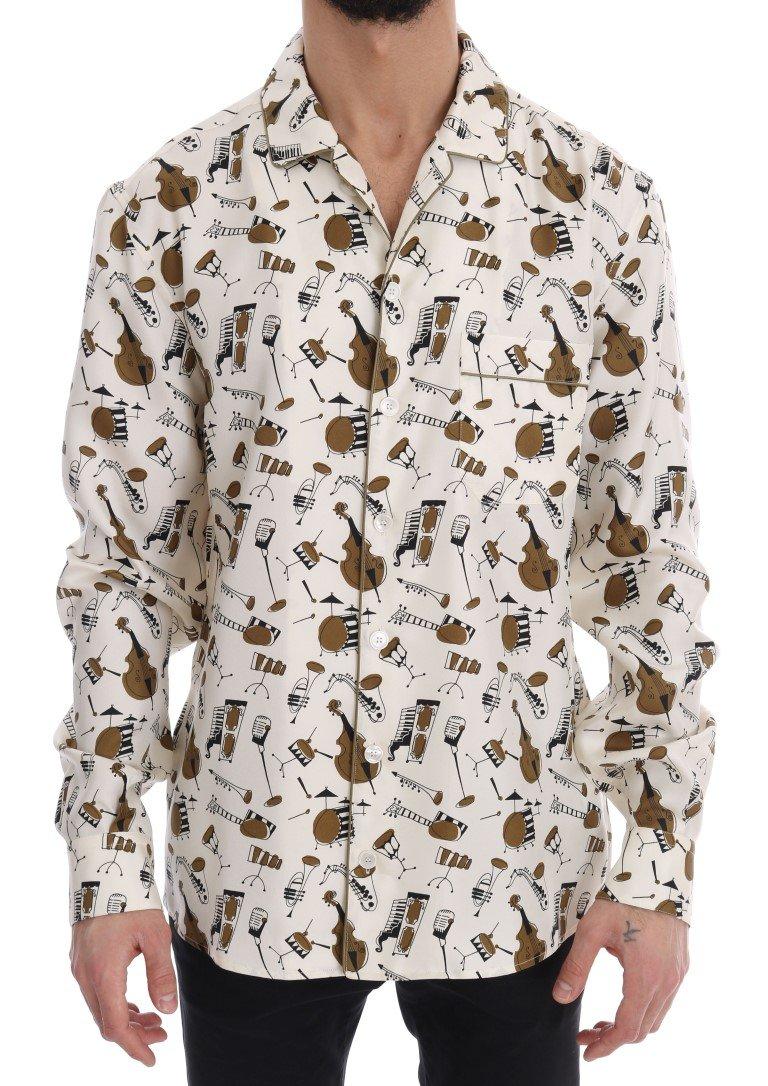 Dolce & Gabbana Men's JAZZ Motive Print Shirt Multicolor TSH1815 - 40