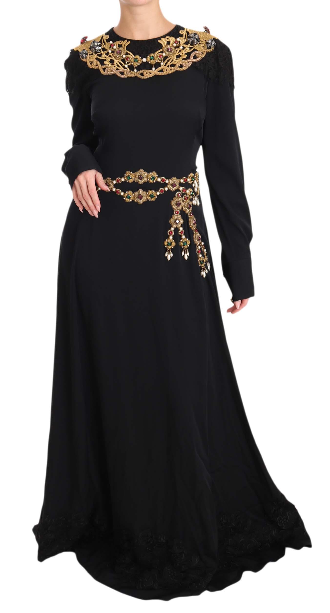 Dolce & Gabbana Women's Silk Stretch Crystal Dress Black DR1587 - IT38   S