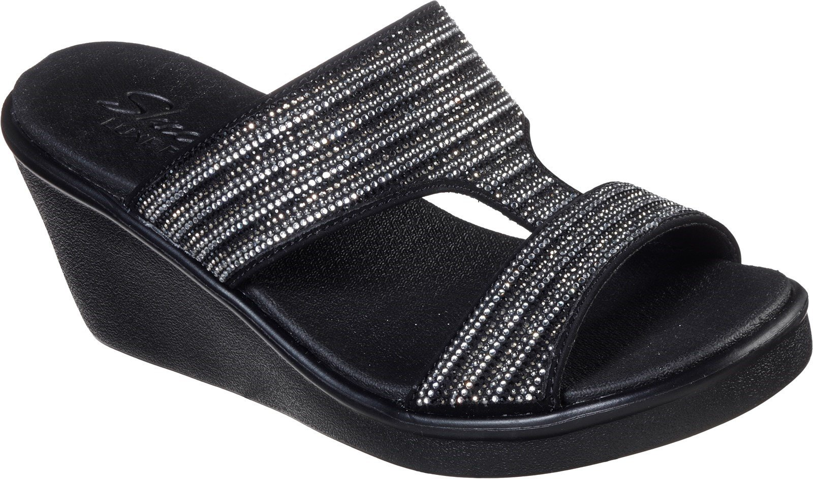Skechers Women's Rumble On Bling Gal Summer Sandal Multicolor 32166 - Black/Silver 5