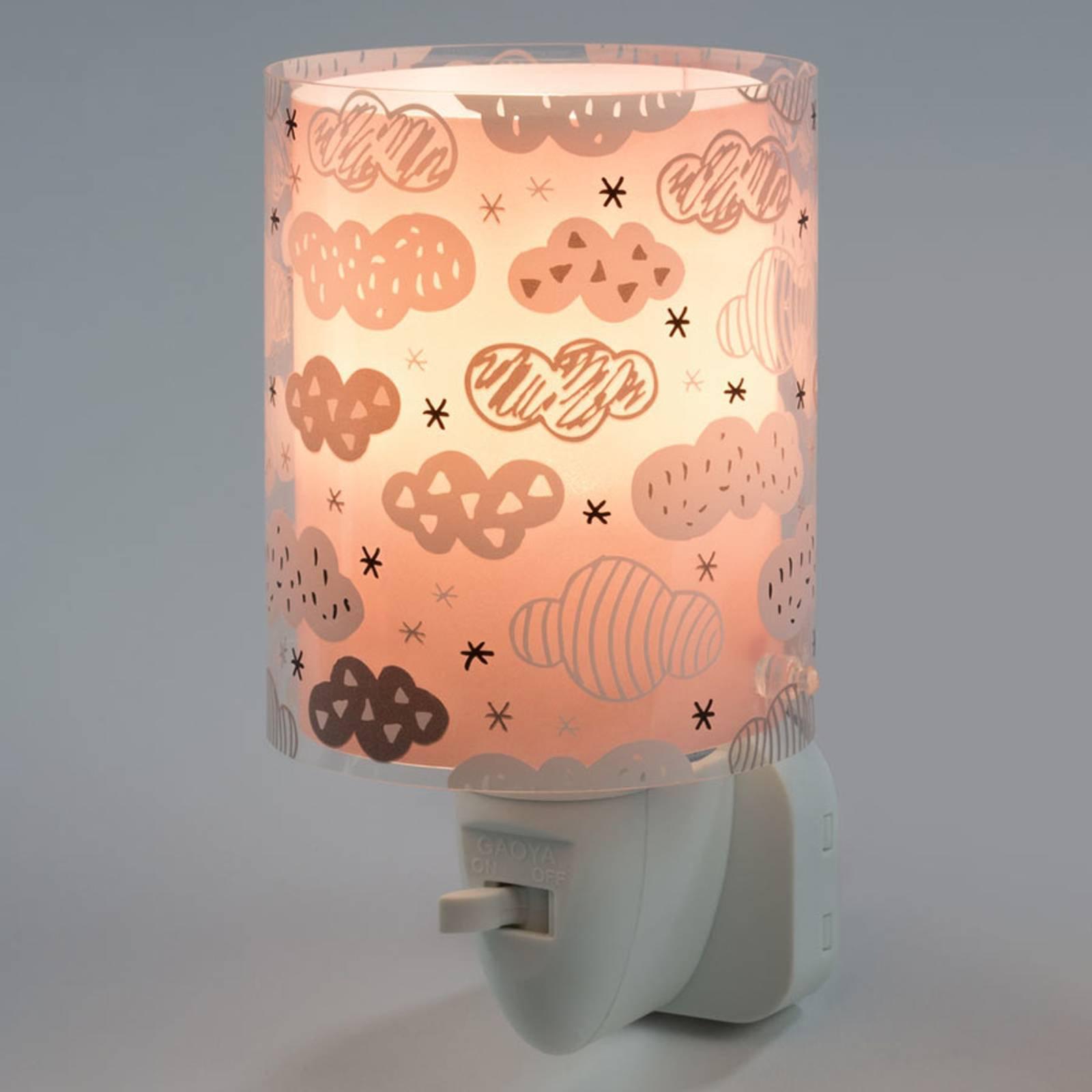 LED-nattlys Clouds med bryter, rosa