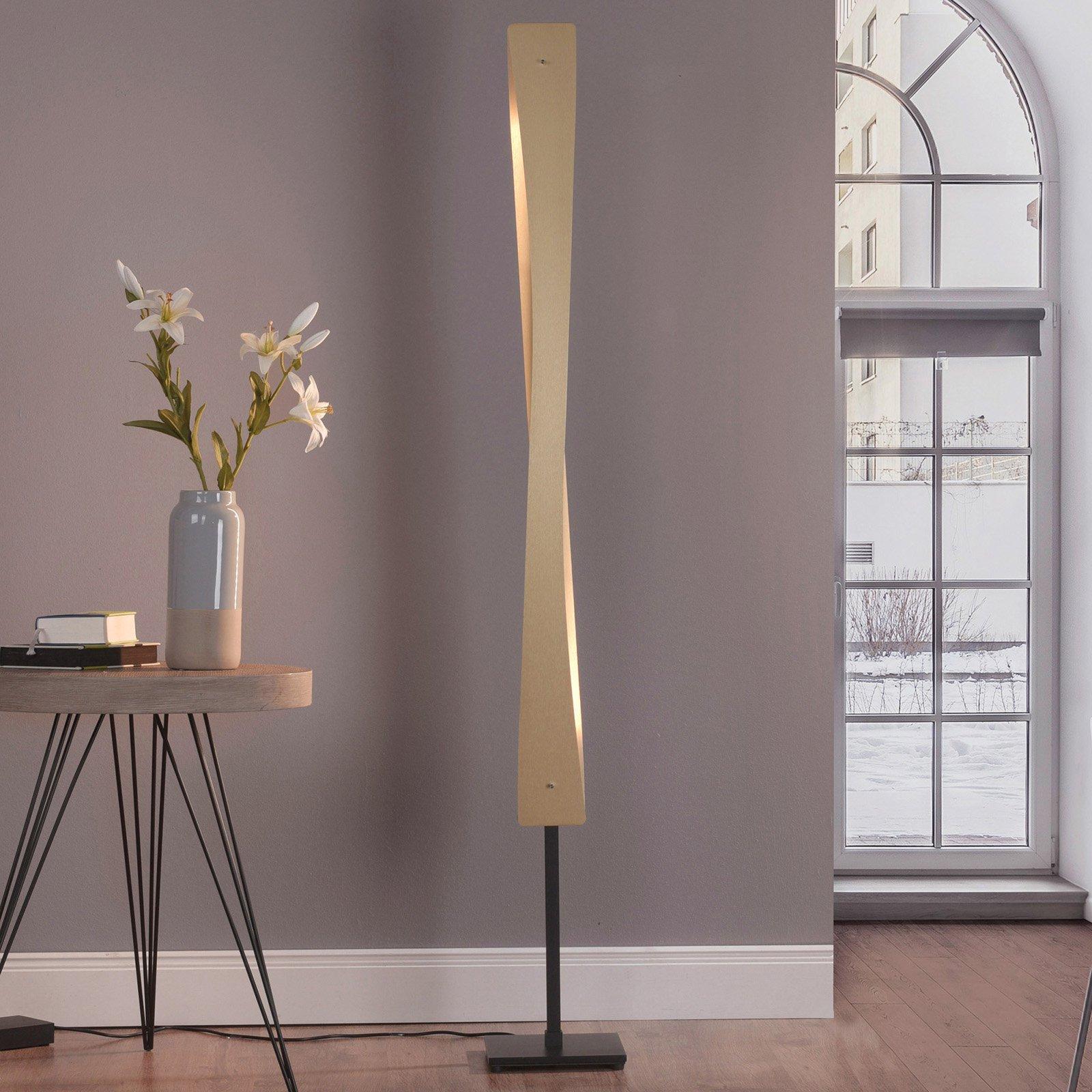 Lucande Lian LED-gulvlampe, messing, svart