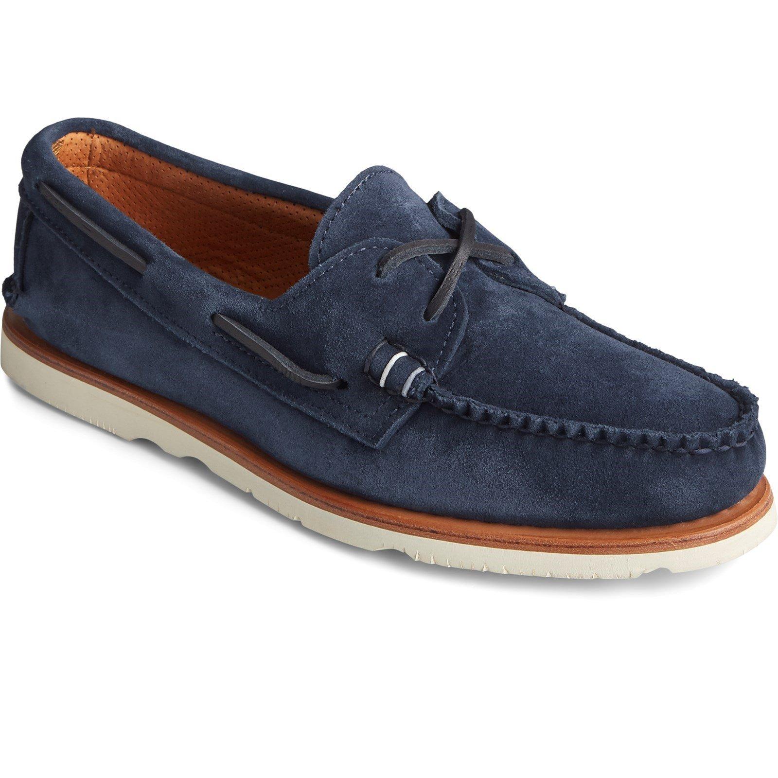 Sperry Men's Authentic Original Sunspel Boat Shoe Navy Suede 32073 - Navy Suede 7