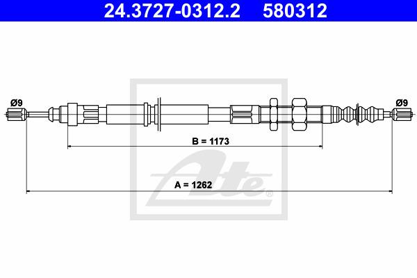 Käsijarruvaijeri ATE 24.3727-0312.2