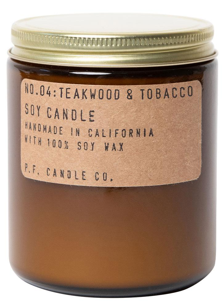 P.F. Candle Co. No. 4 Teakwood and Tobacco Standard Soy Jar Candle