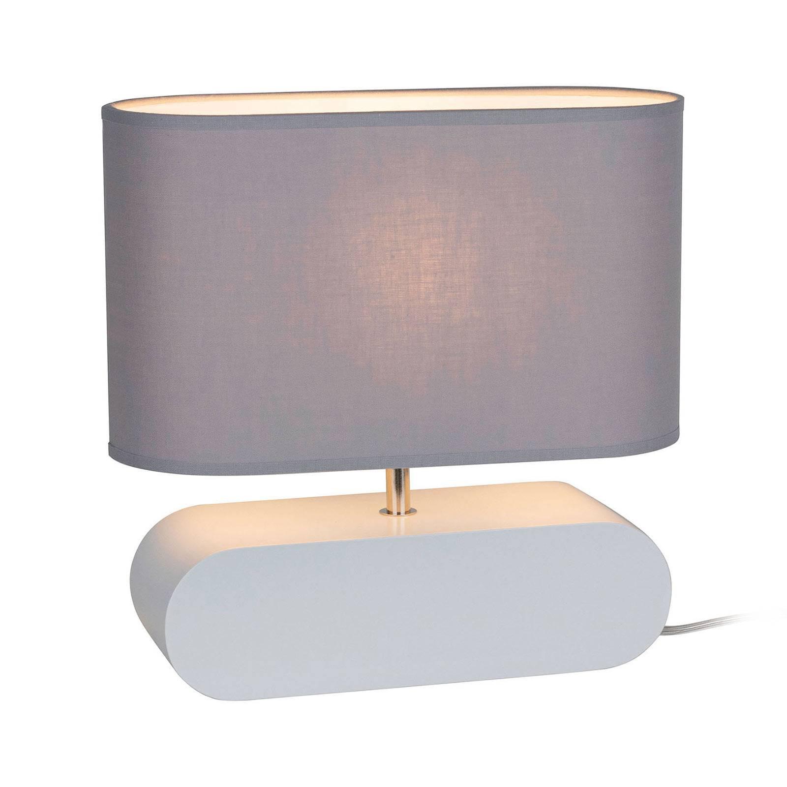 Bordlampe Cassy, hvit fot, grå stoffskjerm
