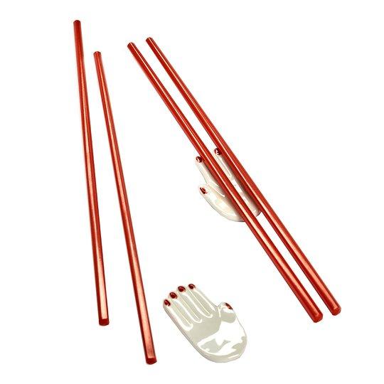 Serax - Serax Table Nomade Ätpinnar 4-pack med Ställ 2-pack Röd/Vit