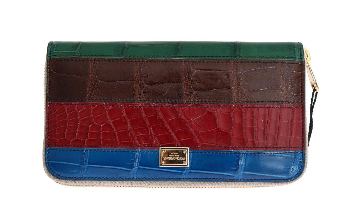 Dolce & Gabbana Women's Crocodile Leather Continental Wallet Multicolor VAS1232