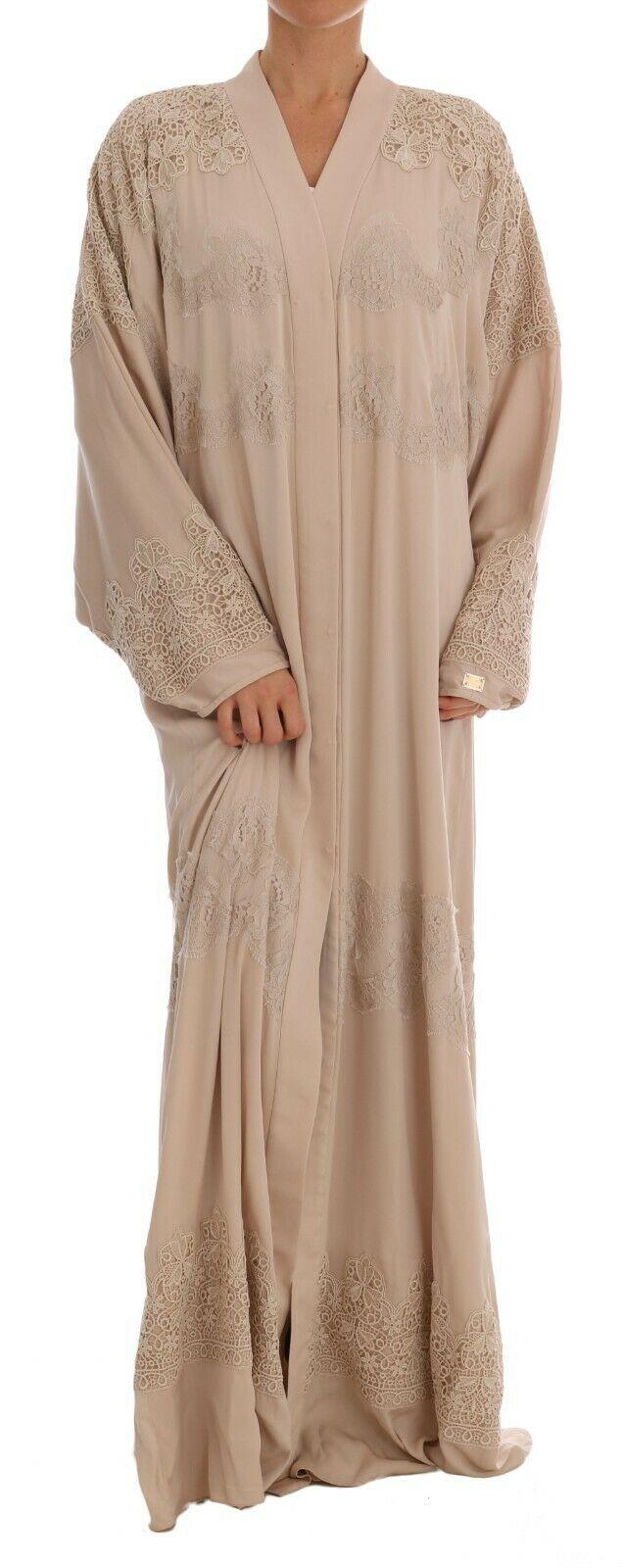 Dolce & Gabbana Women's Silk Ricamo Kaftan Abaya Dress Beige DR1396 - IT40   M