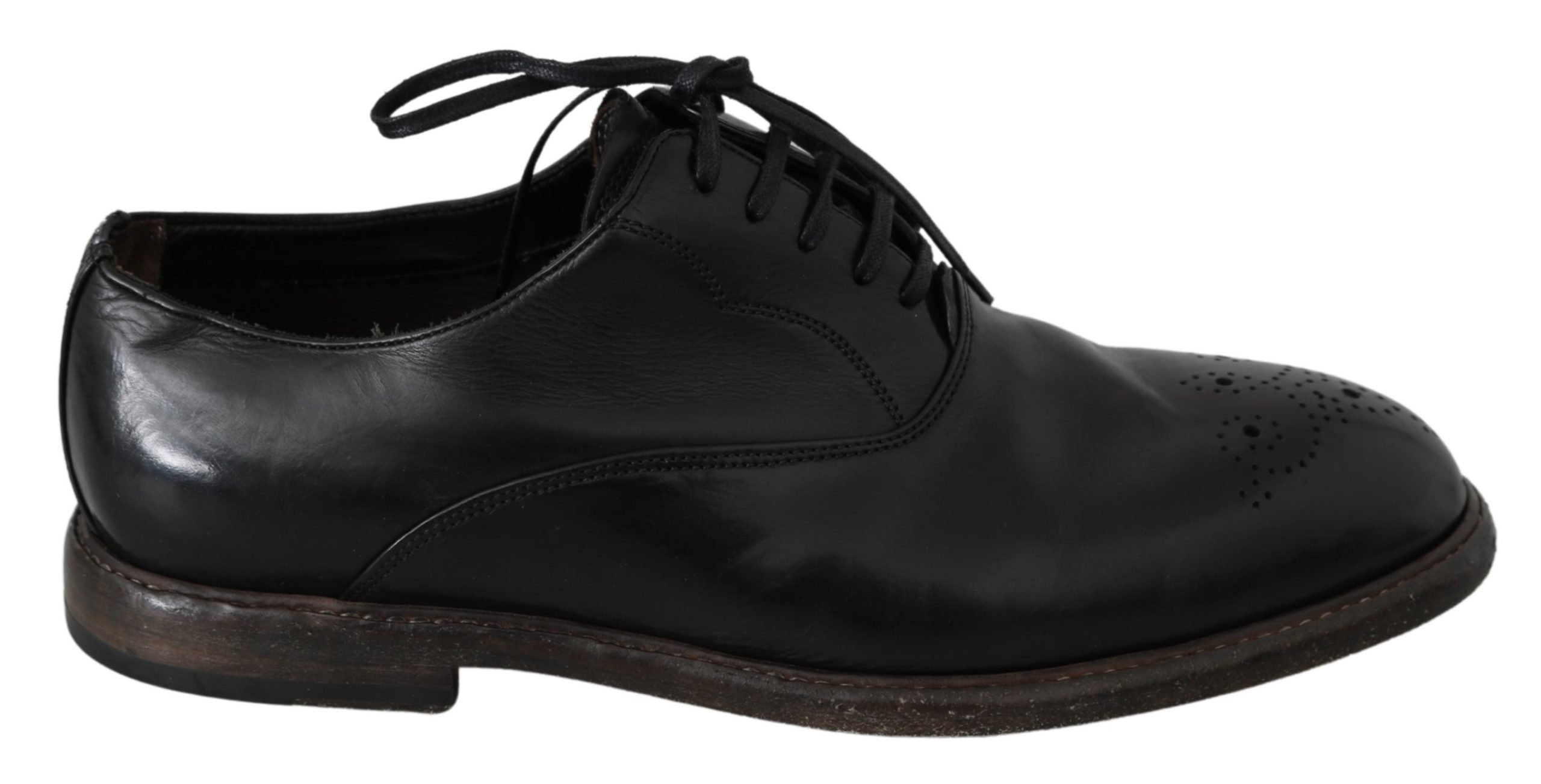 Dolce & Gabbana Men's Leather Formal Brogue Shoe Black MV2777 - EU42/US9
