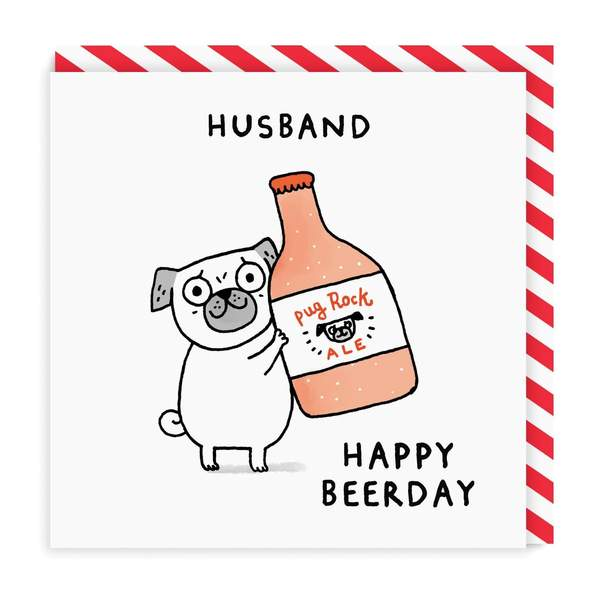 Husband Beer-Day Square Birthday Greeting Card