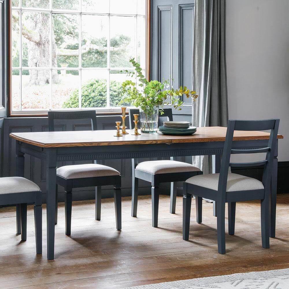 The Atlantic Extending Dining Table Set - Blue Grey (1.86m)