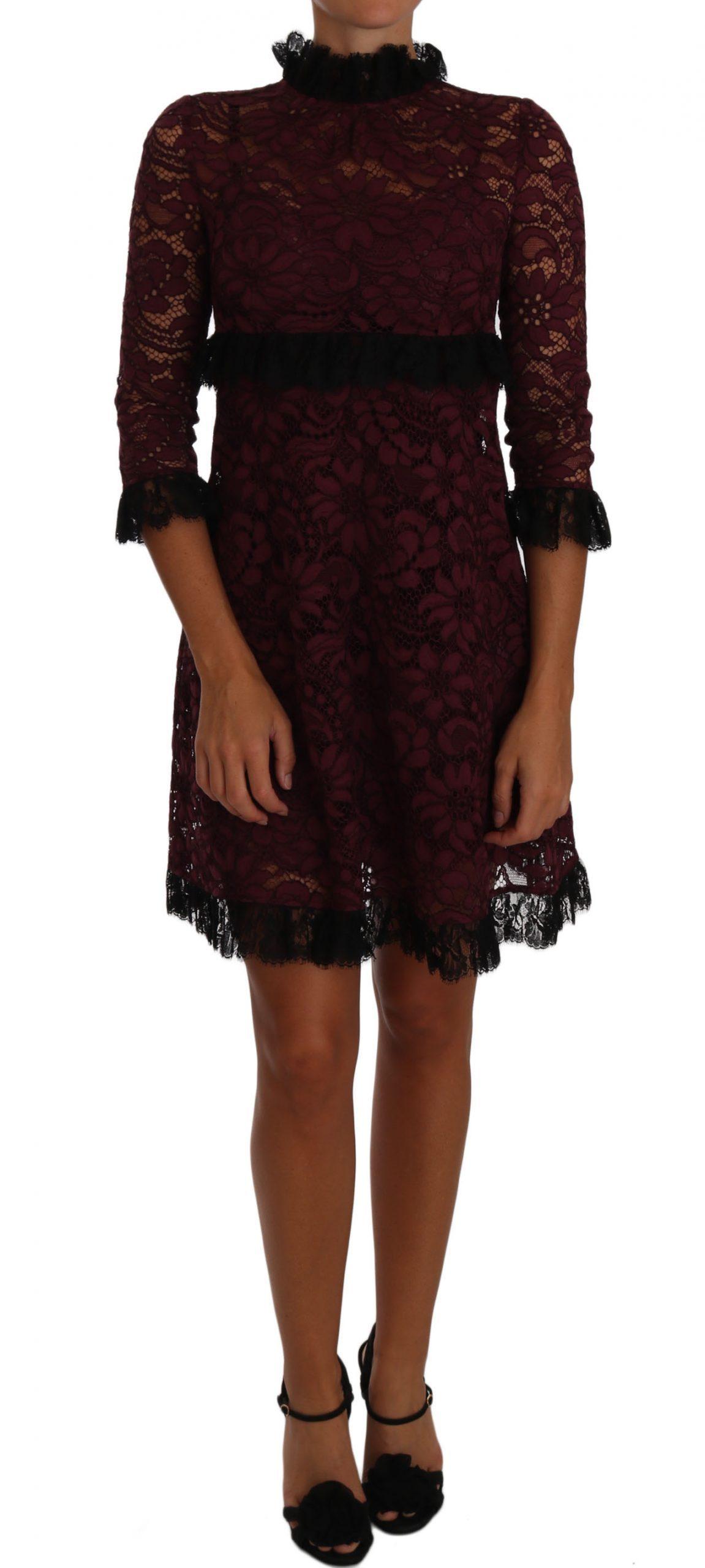 Dolce & Gabbana Women's Floral Lace Dress Black DR1440 - IT36   XS