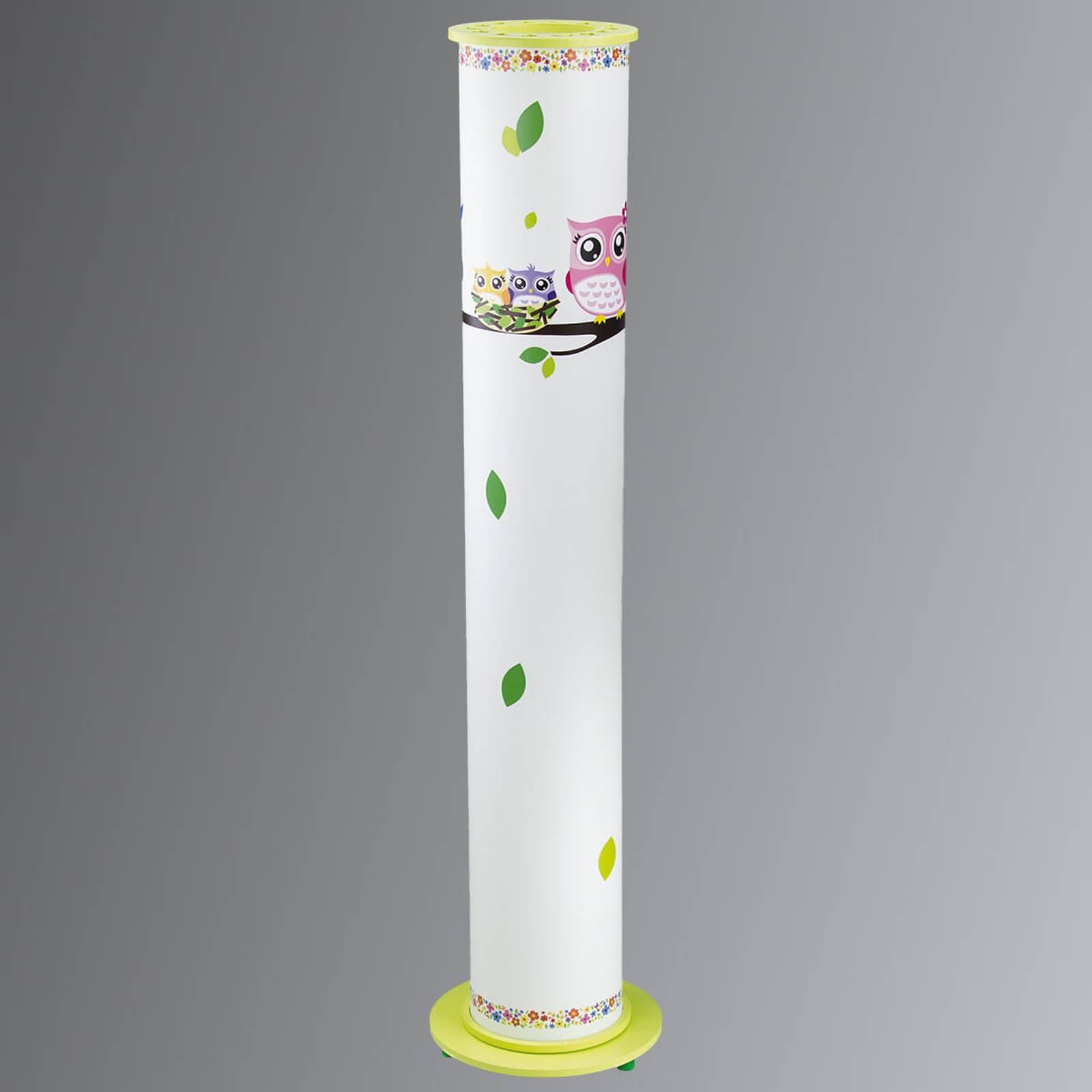 Pöllö-lattiavalo lastenhuoneeseen valkoinen/vihreä