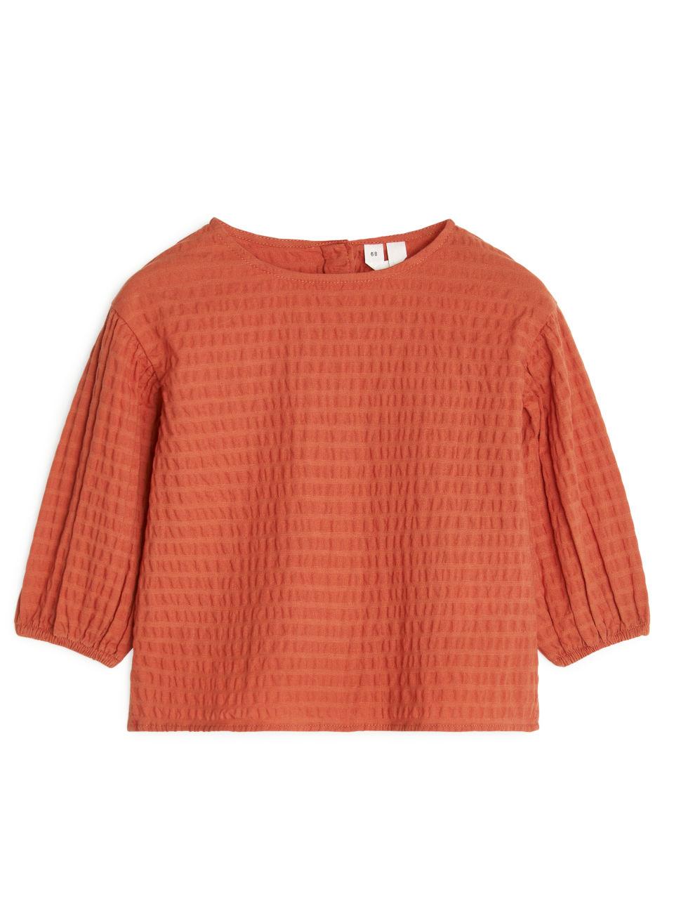 Seersucker Blouse - Orange