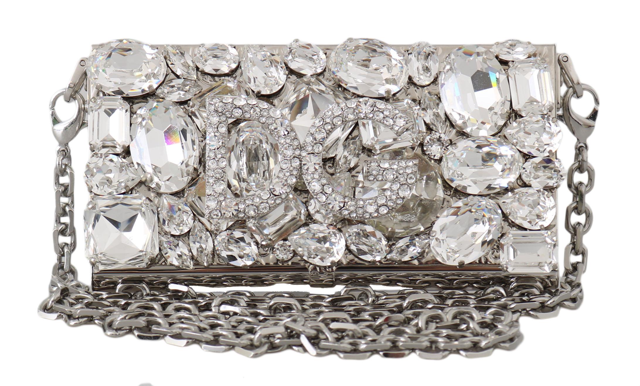 Dolce & Gabbana Women's Metal Crystal Micro Cross Body Bag Silver VA1143