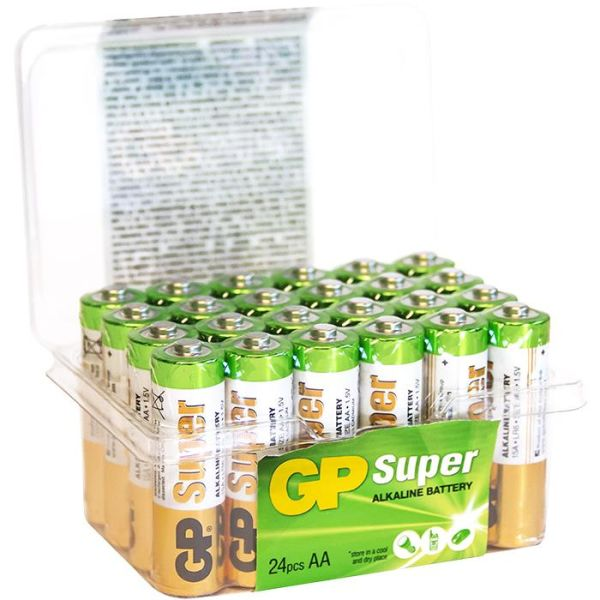 GP Batteries Super Alkaline 15A/LR06 Alkaliparistot AA, POWERCASE, 24 kpl pakkaus