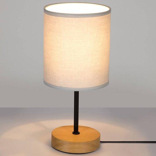 Bordlampe Corralee, tre og grå stoffskjerm