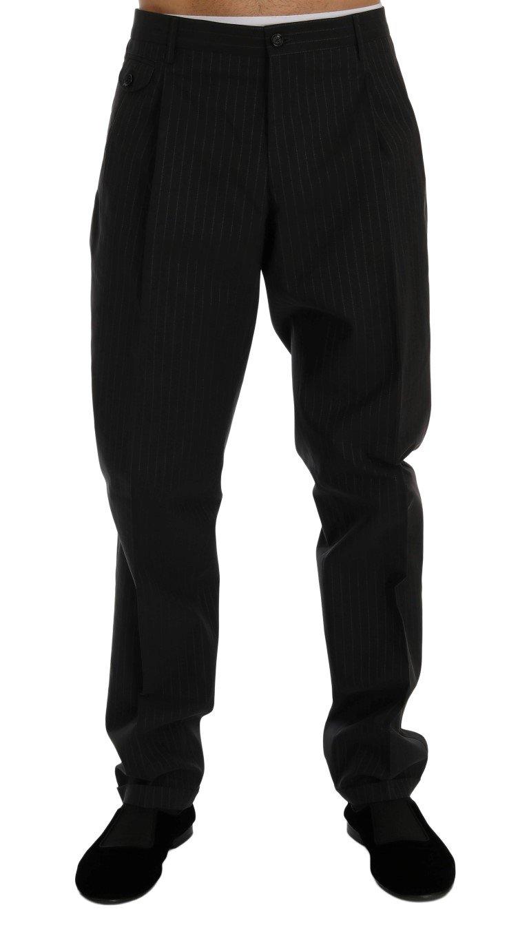 Dolce & Gabbana Men's Striped Cotton Dress Formal Trouser Blue PAN60356 - IT52   XL