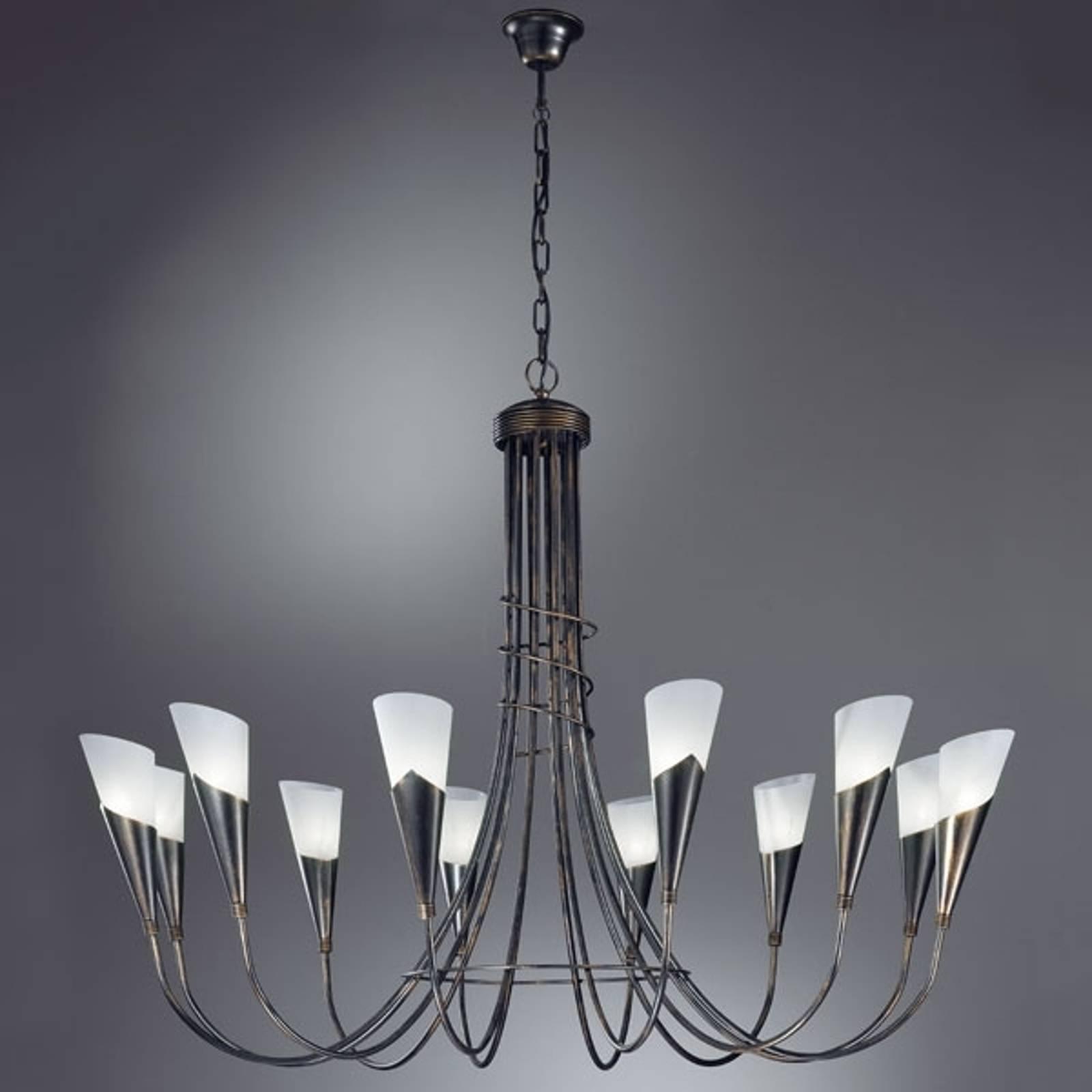 CAMPAGNOLA-kattokruunu 12-lamppuinen musta-kupari