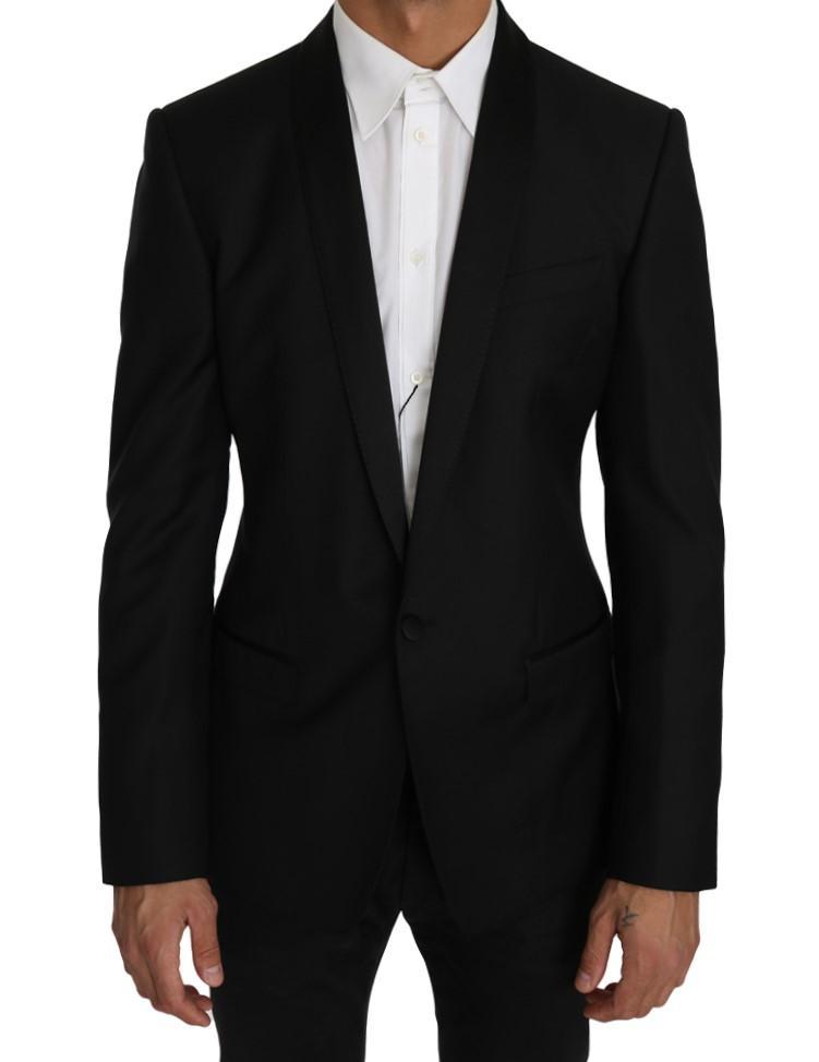 Dolce & Gabbana Men's Wool Silk GOLD Blazer Black KOS1225 - IT48 | M
