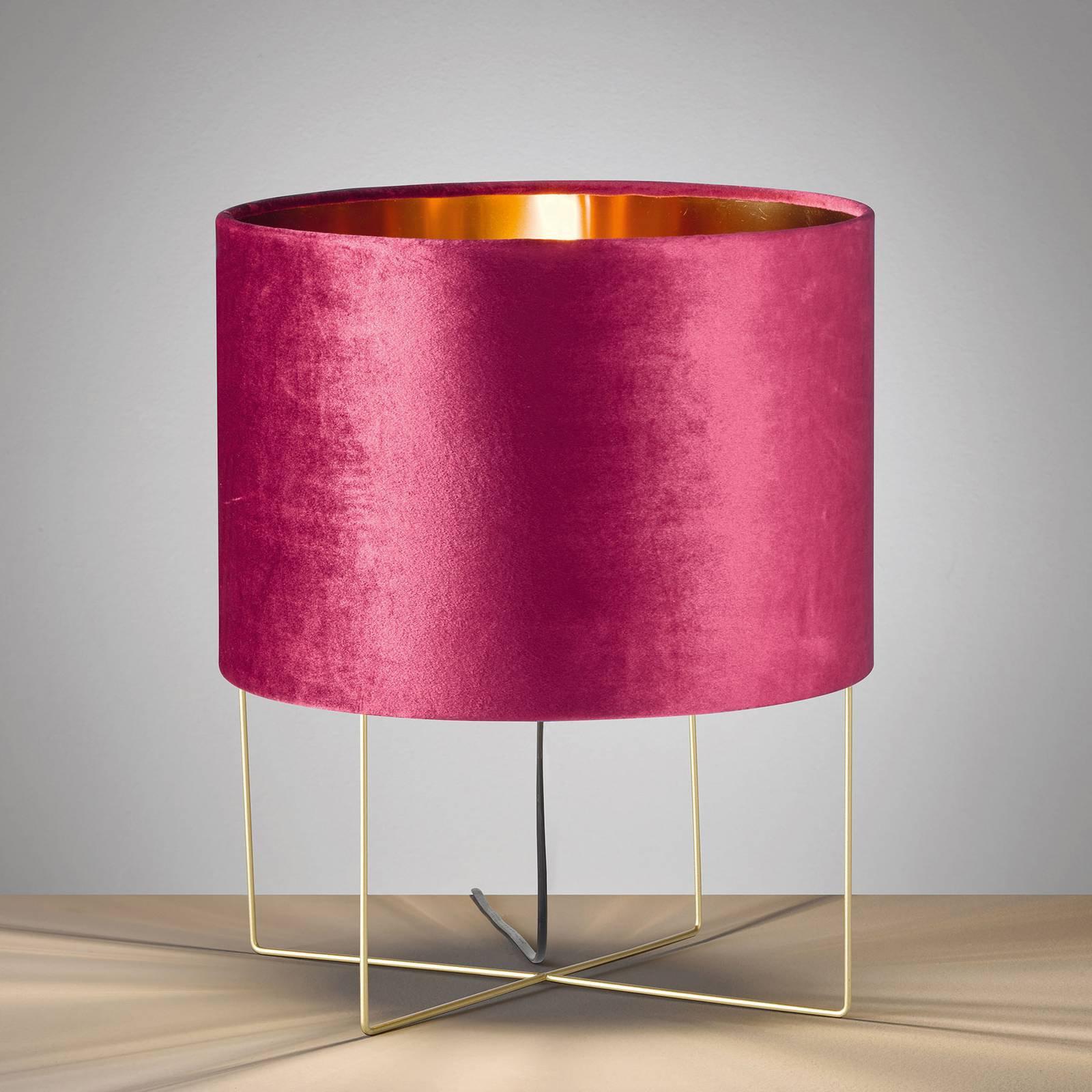 Bordlampe Aura, fløyelsskjerm, høyde 43 cm, rød