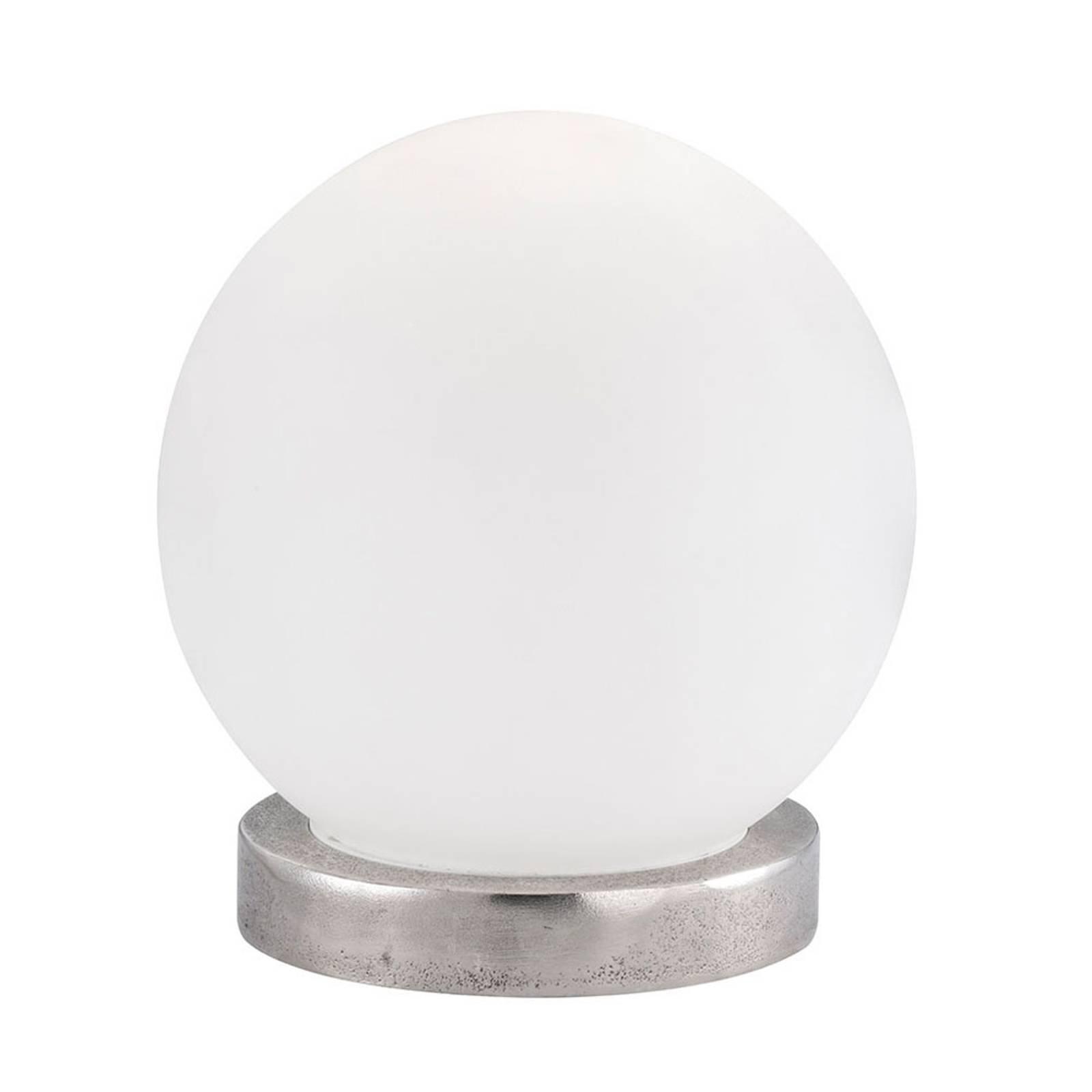 Bordlampe Antony, opal kule, fot nikkel, Ø25cm