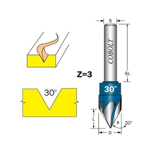 Cobolt 209-000 Skiftfres Z=3, 30 grader