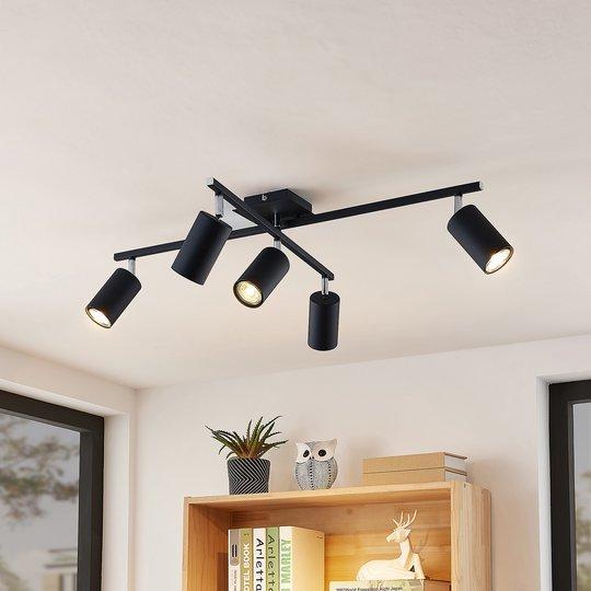 Lindby Ebardo taklampe, fem lyskilder, svart