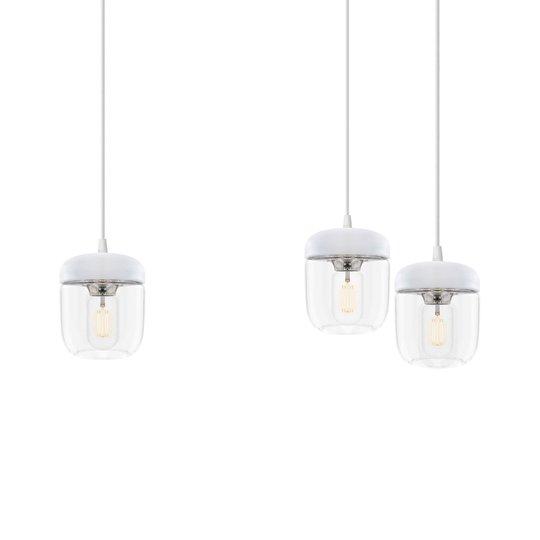 3-lamppuinen riippuvalaisin Acorn valkoinen, teräs