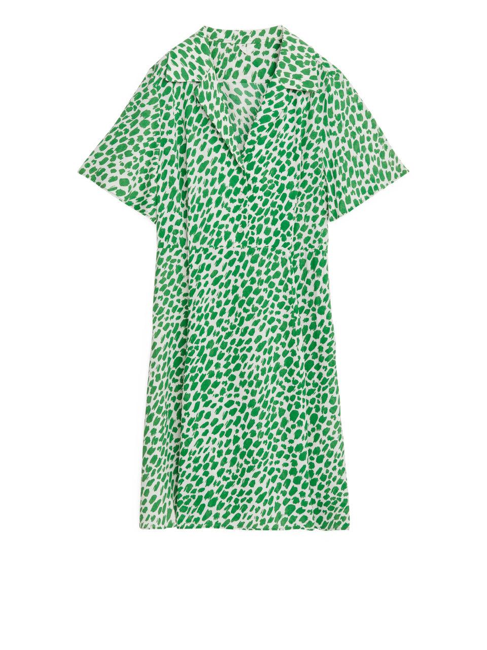 Short Fluted Dress - Green