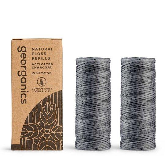 Georganics Tandtråd Aktiverat bambukol Refill - Peppermint, 2 x 50 m