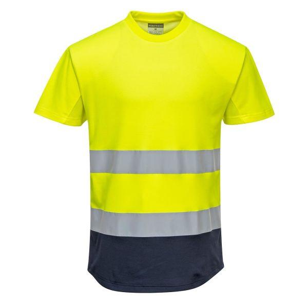 Portwest C395 T-shirt Hi-Vis gul/marinblå S