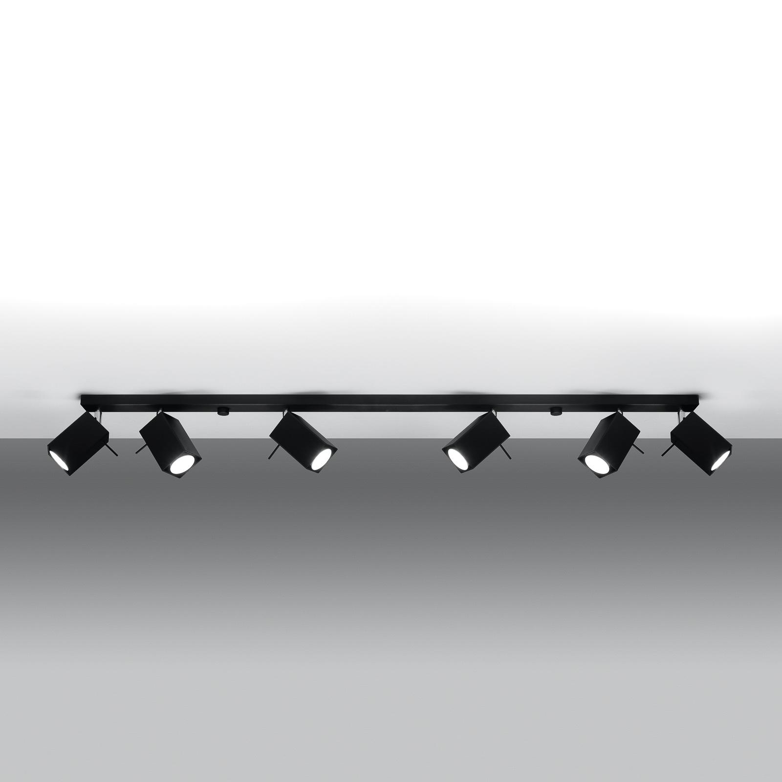 Kattospotti Square, musta 6-lamppuinen suora