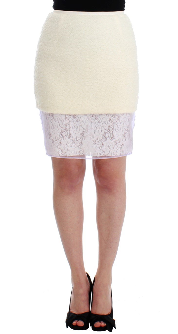 DAIZY SHELY Women's Pencil Lace Skirt White SIG12675 - IT42|M