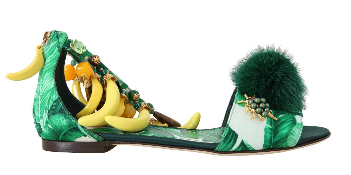 Dolce & Gabbana Women's Banana Leafs Crystal Fur Sandal Multicolor LA4278 - EU35.5/US5