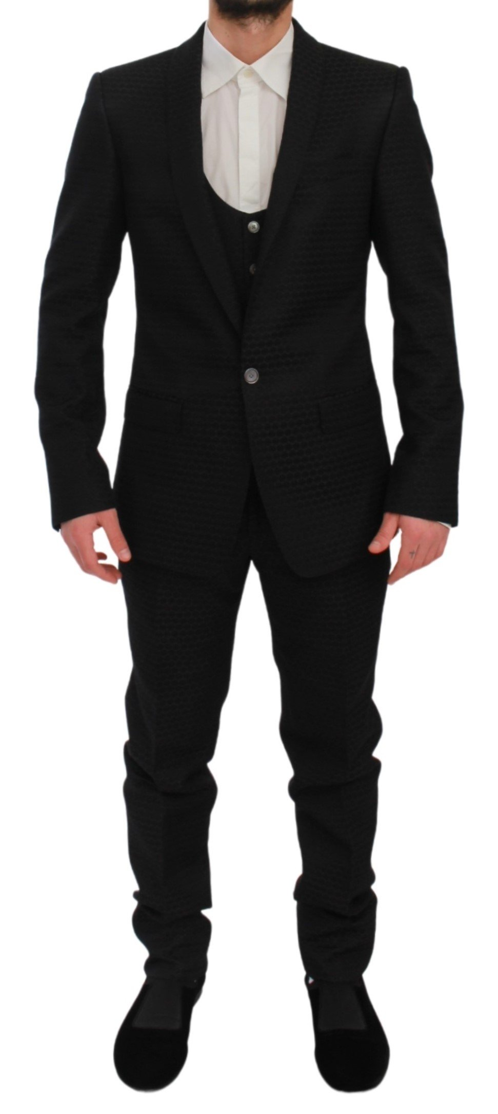 Dolce & Gabbana Men's Slim Fit 3 Piece Wool MARTINI Suit Black KOS1715 - IT44 | XS