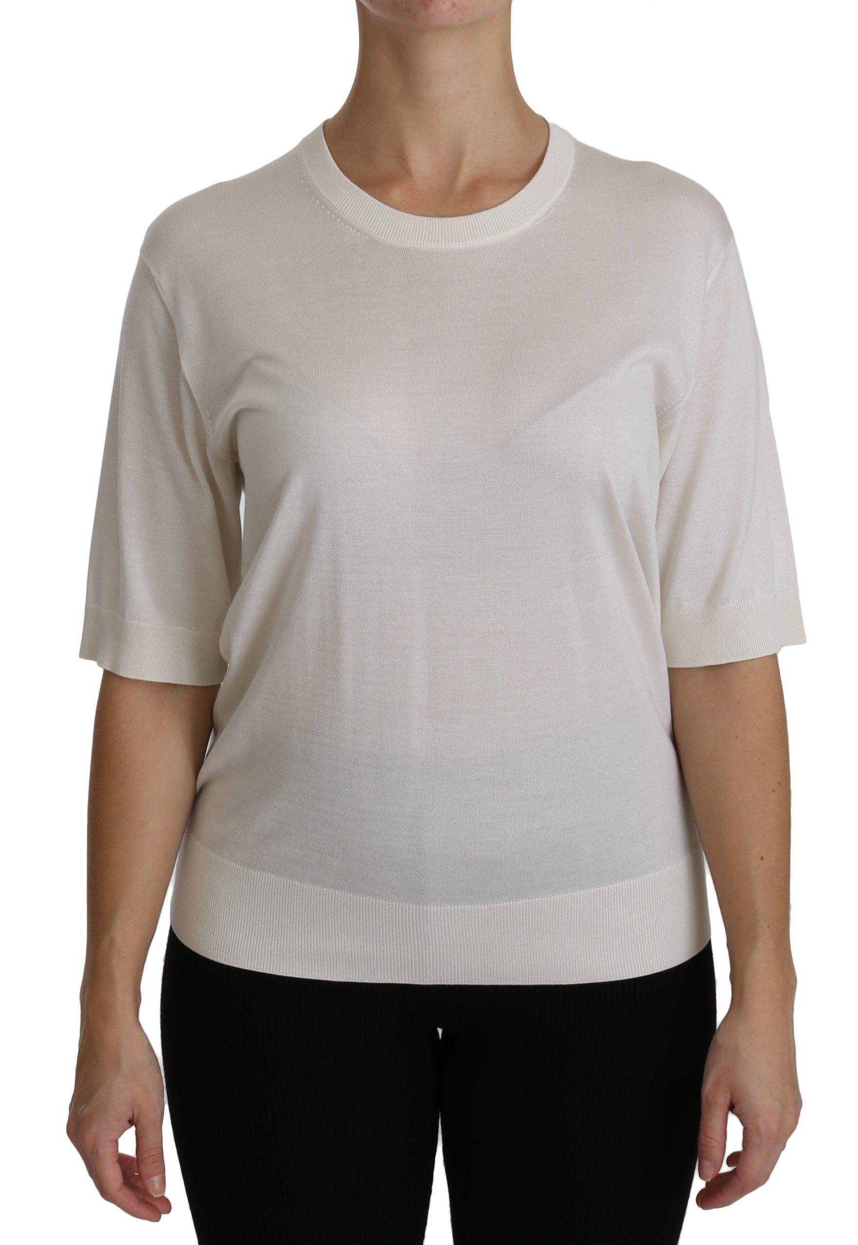 Dolce & Gabbana Women's Crew Neck Short Sleeve Top White TSH4265 - IT40|S