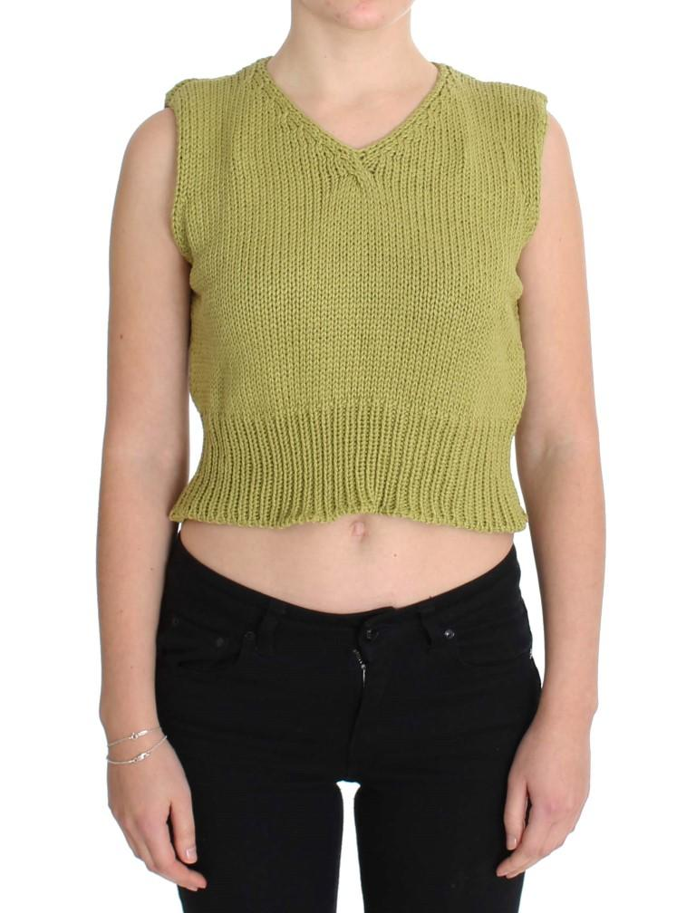 Pink Memories Women's Knitted Sleeveless Sweater Green SIG30249 - One Size