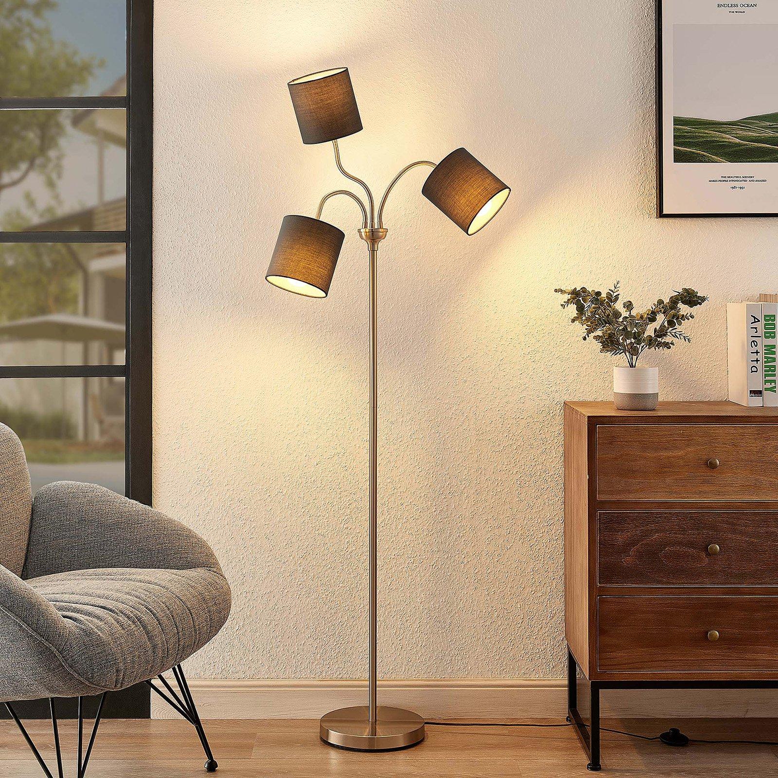 Lindby Manu-gulvlampe, stoff, 3 lyskilder, grå