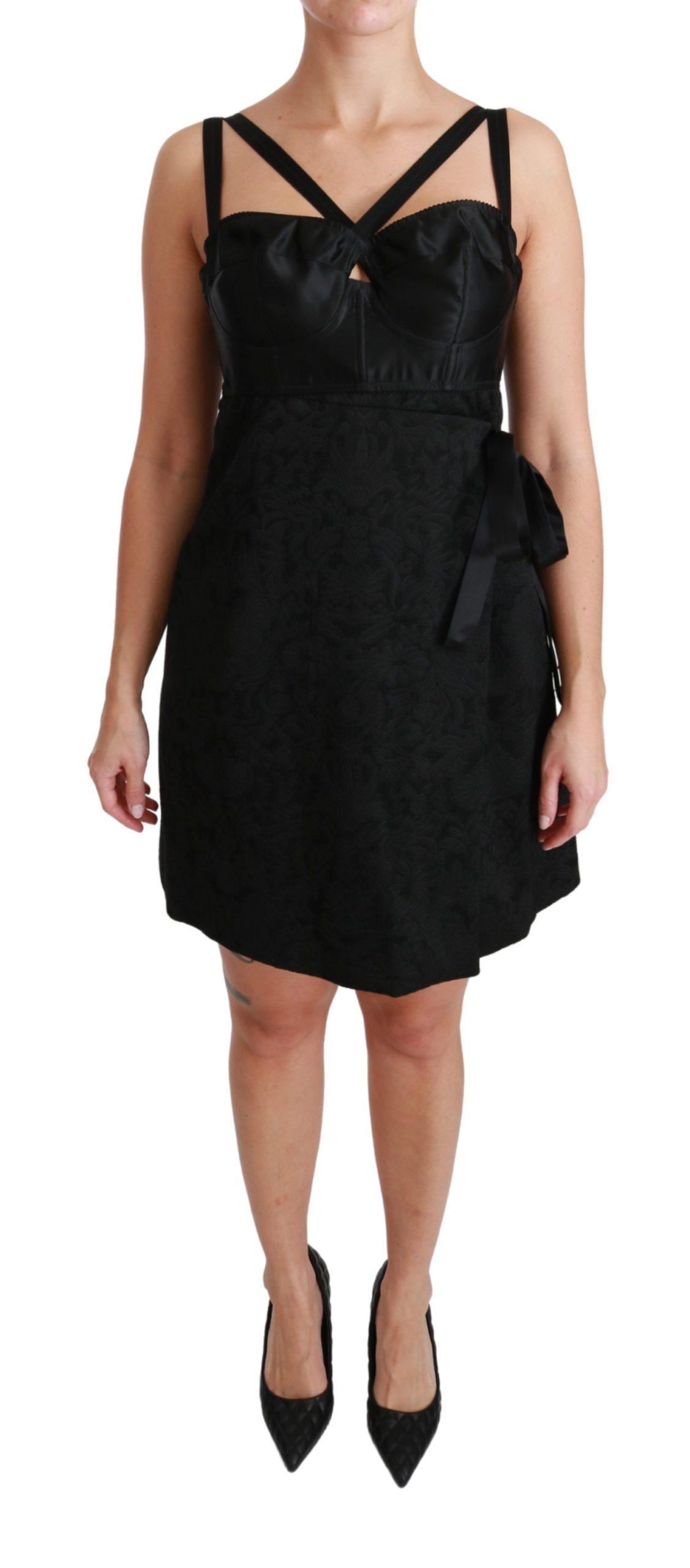 Dolce & Gabbana Women's Stretch Satin Jacquard Mini Dress Black DR2497 - IT44 L