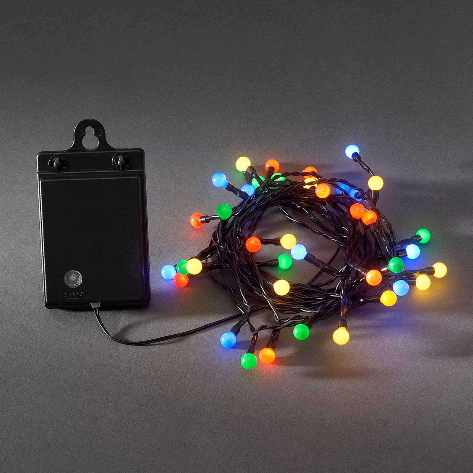 Värikäs ulkovaloketju LED 40 lamppua RGB paristo