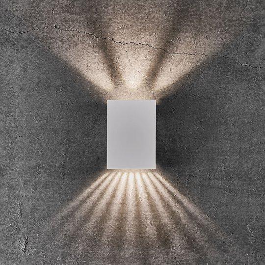 LED-ulkoseinälamppu Fold, 10 x 15 cm, valkoinen
