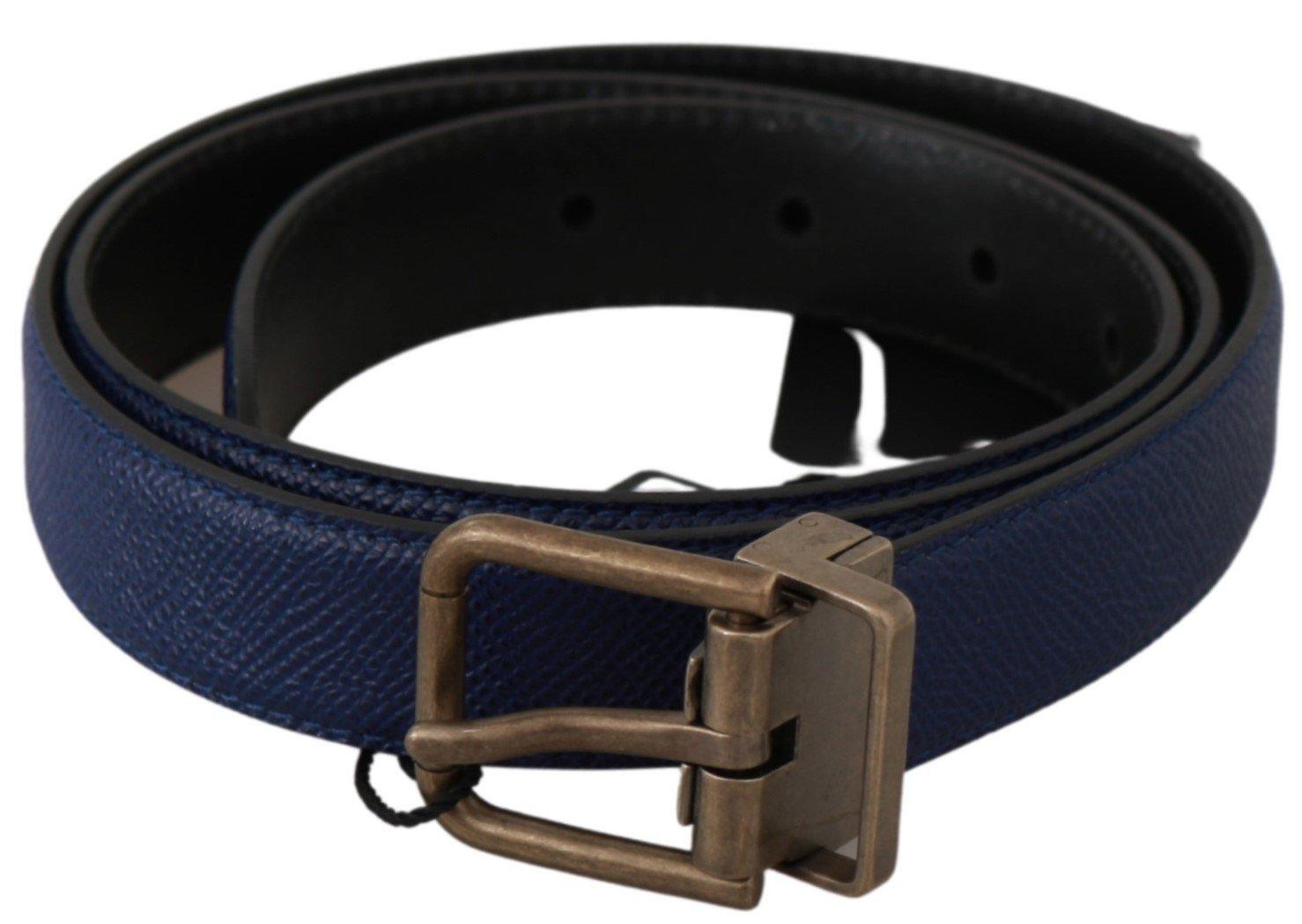 Dolce & Gabbana Men's Brushed Buckle Leather Belt Blue BEL60605 - 100 cm / 40 Inches