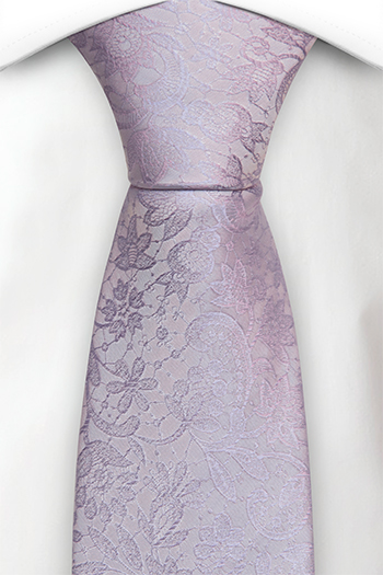 Silke Slips, Ton-i-ton broderte blomster i blek lilla, Notch VIGSEL Pale purple