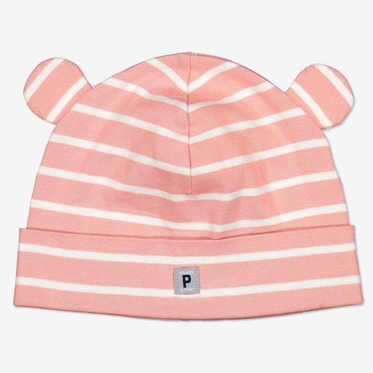 Stripet lue med ører baby rosa