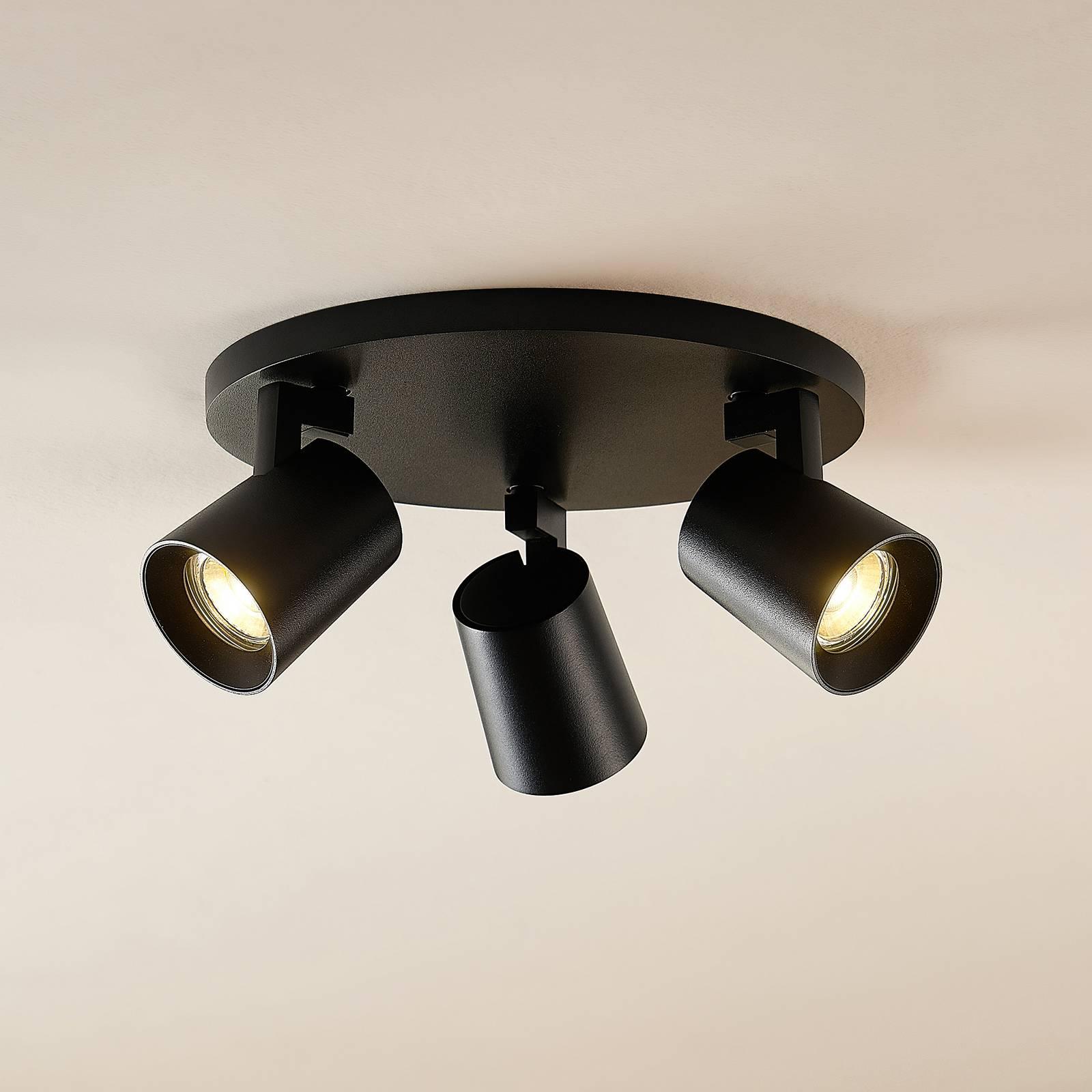 Arcchio Iavo -spotti, pyöreä, 3 lamppua, musta