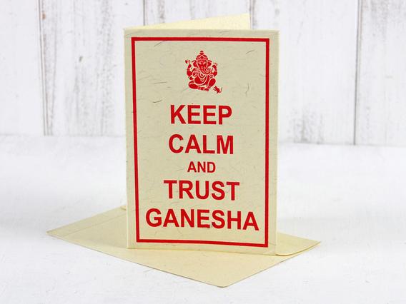 Keep Calm and Trust Ganesha Greeting Card Medium