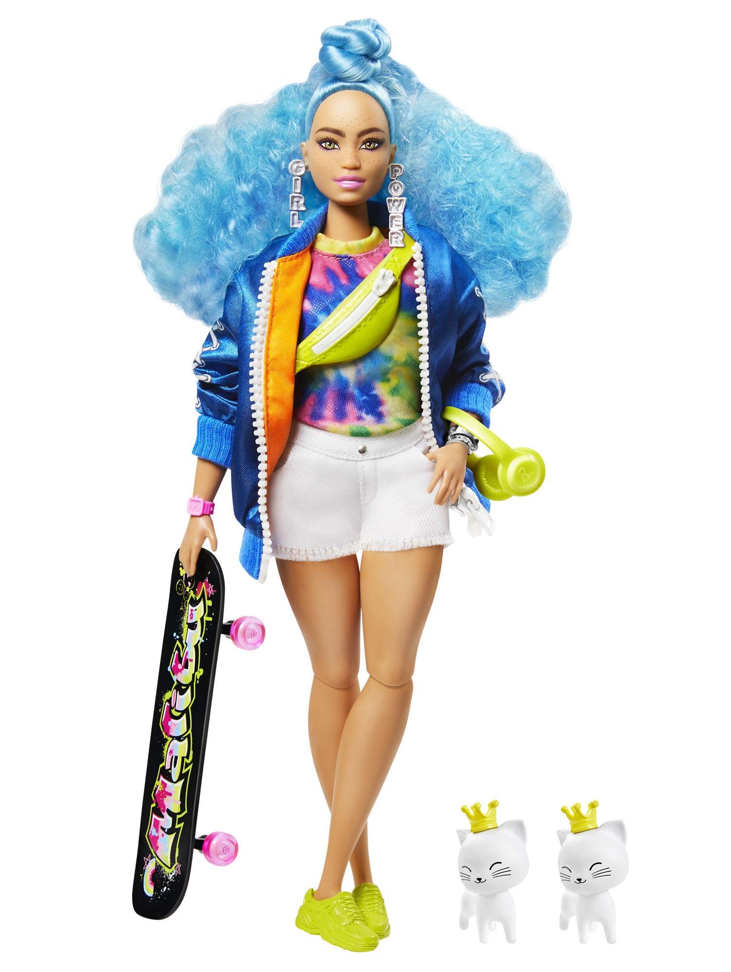 Barbie Extra Doll Blue Curly Hair Docka